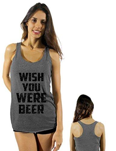 Awkwardstyles Wish You Were Beer Black C Sayings Racerback tank tops + Bookmark L Dark Gray