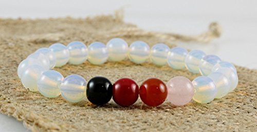 Moonstone with Pink Rose Quartz Red Coral Orange Carnelian Black Onyx Round Beads Stretch Bracelet 7'' (Carnelian Onyx)