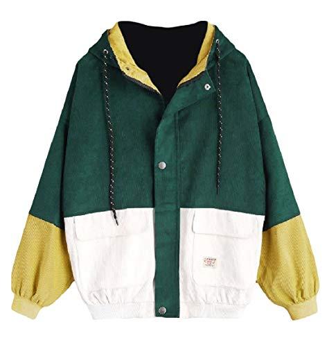 Oversized Color RkBaoye Outwear Coat Baseball Womens Hit Zip Hooded Green Dark Patched Velvet Iw8qwSHxf