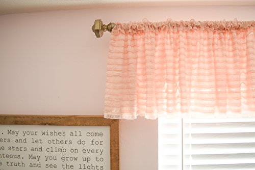 A Vision to Remember Light Blush Pink Sheer Ruffle Valance Extra Wide Window Treatment - Ruffle Light