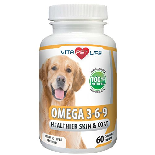 Omega 3 for Dogs, Fish Oil, Flaxseed Oil, Antioxidant, DHA EPA Fatty Acids, Brain Health, Shiny Coat, Itchy Skin Relief, Dry Skin, Immune System Support, Anti Inflammatory, 100% Natural Chews.