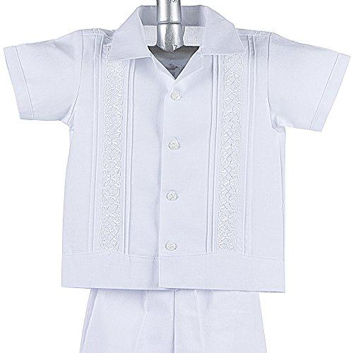 Boys Guayabera Shirt, Boys Baptism Shirt w/ Pants Set, Mexican Wedding Shirt, Cotton Guayaberas, style 910 (2 ()
