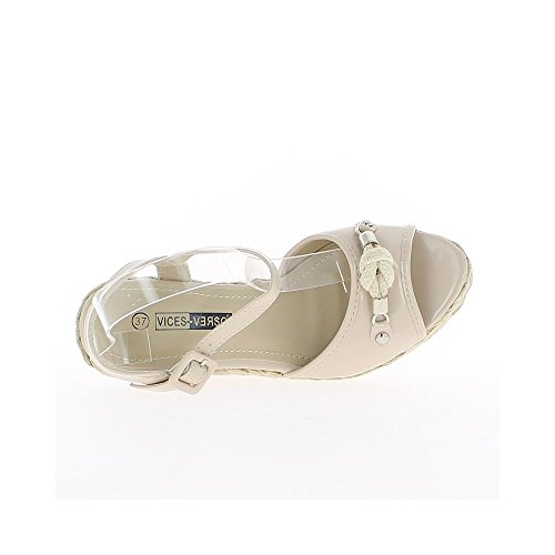Cuña sandalias 11cm y estante pintan color beige mujer