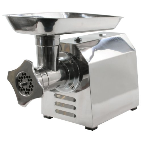 Sportsman MEGRINDUL 1HP 650W Stainless Steel Electric Meat Grinder with Sausage Making Accessories and 2 Sets of Grinding Plates and Cutting Knives
