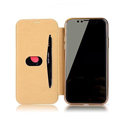 Vandot Accesorio 3D Rhinestone perla PU Phone Case Cover Para iPhone 6 Plus 5.5 pulgadas Funda cubierta de la caja Case Bling Book Wallet Diamond cubierta de cuero del brillo Shell Teléfono Práctica F CFPiT-3
