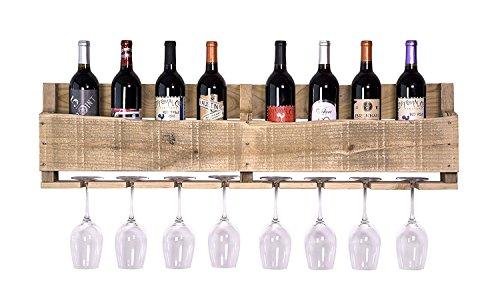 del Hutson Designs - The Olivia Wine Rack, USA Handmade Reclaimed Wood, Wall Mounted, 8 Bottle 8 Long Stem Glass Holder (Natural)