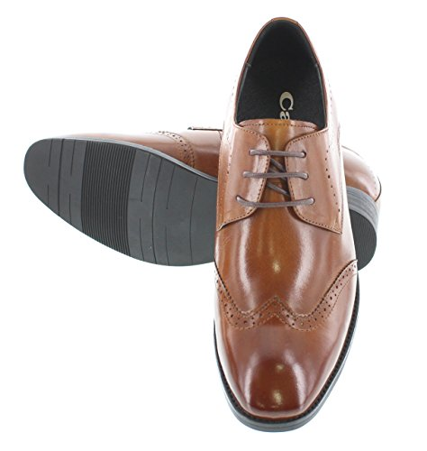 Scarpe Wing-tip Colore Marrone Aumentare Con Altezza Lacci G-calto 1089- In 62 7 Ascensore Pelle Cm Inches 3 -tappetto
