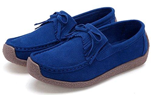 Shoes Boat Deck Flat Women's DADAWEN Loafers Penny Moccasins Blue Suede 8wqTU