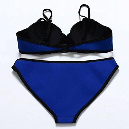 Traje de baño de moda mezcla de colores cuidado de acero de neopreno se reúnen Split bikini spa traje de baño playa de traje de baño Azul