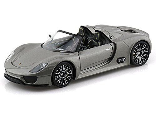 Welly Porsche 918 Spyder SILVER Gray 1/24 DIECAST CAR MODEL NEW (Gray Porsche Model)