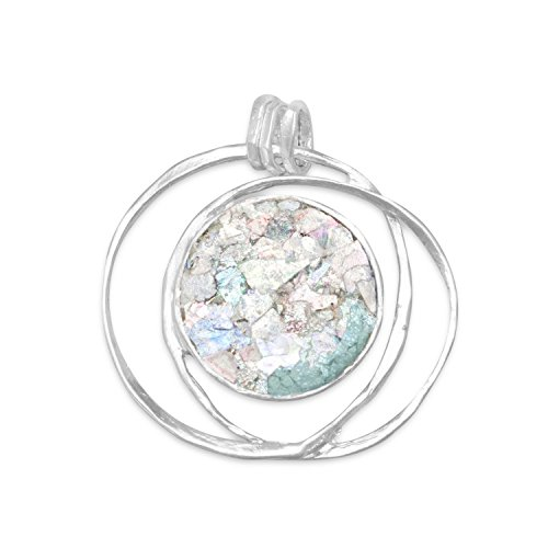 (Precious Stars Jewelry Sterling Silver Round Ancient Roman Glass Open Wire Pendant)