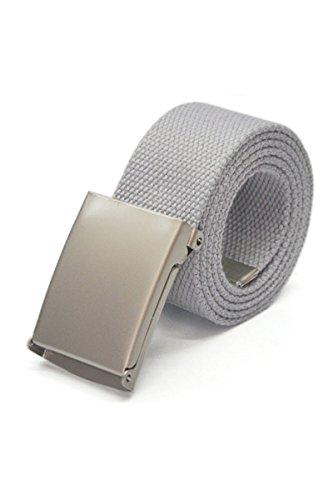 TOOGOO(R) Unisex Plain Webbing Canvas Metal Buckle Belt (Gray)