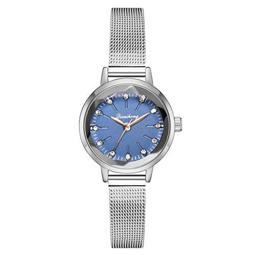 Women's Watch Clement Alttlee Fashion Simple Pseudo Brick Stone Scale Silver Mesh with Quartz Women's ()