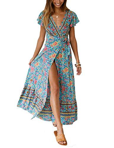 (Women's Boho Floral Ruffle Dress Beach Party Tunic V Neck Wrap Split Maxi Swing Sundress (L, Green))