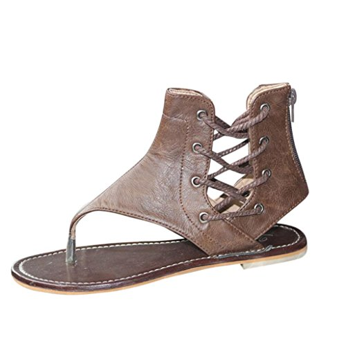 Baigoods Women Summer Pinch Flat-Bottomed Roman Sandals Strappy Sandals Ankle Flat Straps Genuine Leather Shoes (US:8, Brown) ()