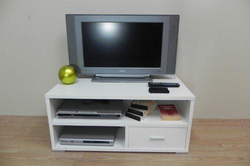 Azor - Mesa tv 90 con patas, medidas 90 x 50 x 40 cm, color blanco ...