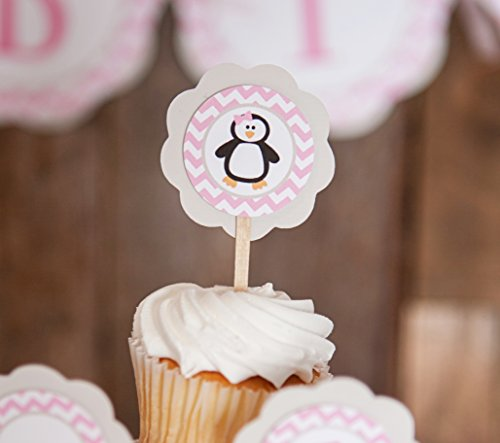 Penguin CUPCAKE TOPPERS - Pink Penguin Cupcake Toppers - Birthday Party or Baby Shower Decorations (12 pack)