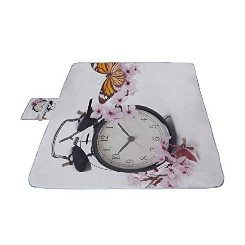 GIRLOS Clock with Blossoms and Butterfly Picnic Mat 57''(144cm) x59''(150cm) Picnic Blanket Beach Mat with Waterproof for Kids Picnic Beaches and Outdoor Folded Bag Blossoms And Butterflies Clock