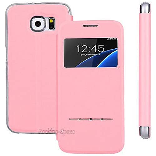 Samsung Galaxy S7 Flip Leather Window View Wallet Stand Smart Case (Baby Pink) Sales