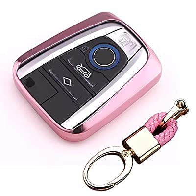 Royalfox(TM Luxury Soft TPU Smart 4 Buttons Key Fob case Cover for BMW i3 i8 2014 2016 2020 with Keychain Key Ring BMW i Key Cover (Rose Gold): Automotive