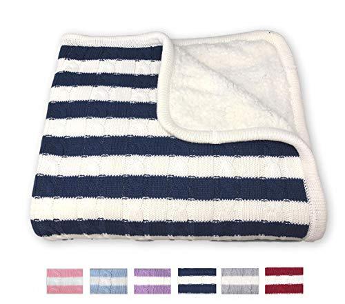 effe bebe Sweet Stripe Cotton Cable Knit Sherpa Baby Blanket 30x40 Navy