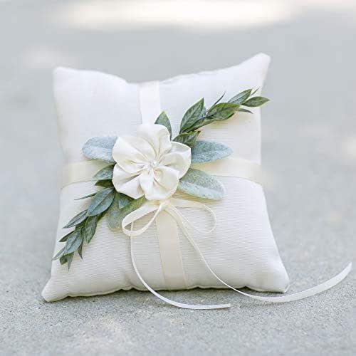 Amazon.com: Ring Bearer Pillow - Ivory Linen-look Ring