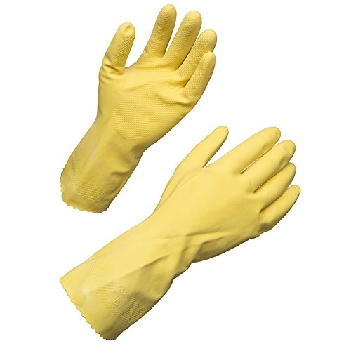 Yellow Flock Lined Gloves (AMMEX - LY17-M - Work Gloves - 12