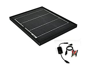 Instapark® NEW All Black 10W Mono-crystalline Solar Panel with 12V Solar Charge Controller