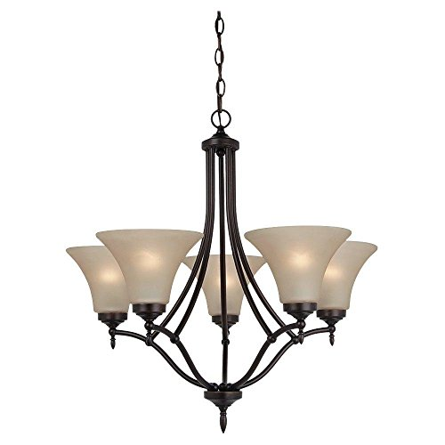 Montreal 5 Light Chandeliers (Five Light Chandelier in Burnt Sienna Finish with Cafe Tint Glass)
