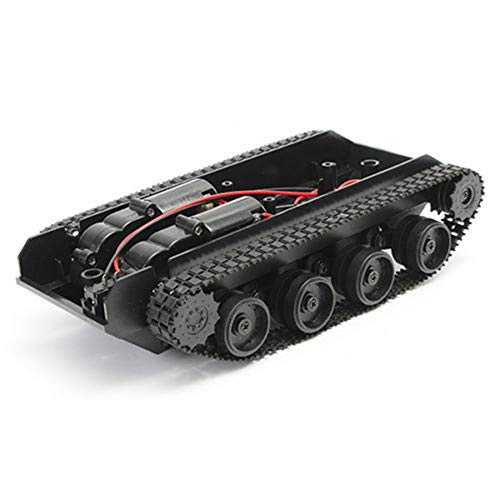 Lcyus Military Battle Tank, Smart Robot Tank Car Chassis Kit Rubber Track Crawler for Arduino 130 Motor (Black)