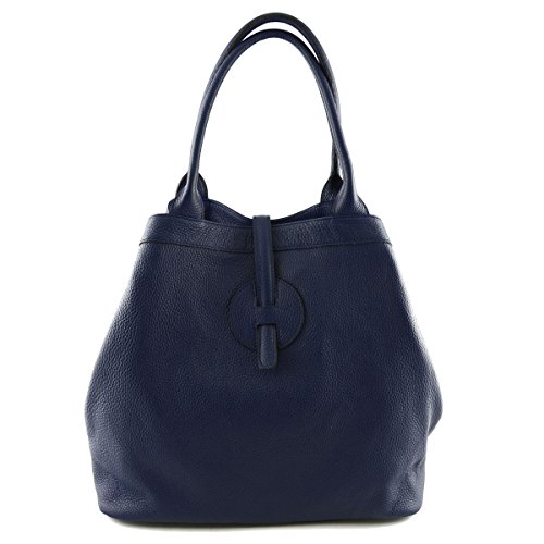 Borsa Donna In Vera Pelle Colore Blu Scuro - Pelletteria Toscana Made In Italy - Borsa Donna