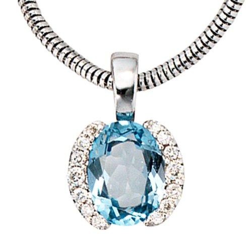 Pendentif en or blanc 585 sertie de 14 diamants 0,09ct. 1 topaze bleue