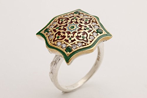 Motif Style Turkish Handmade All Authentic Jewelry Green Enamel Round Cut Emerald Topaz 925 Sterling Silver Ring Size All