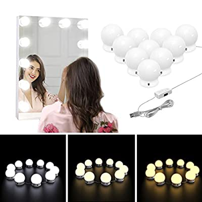 Nicewell Vanity Lights, Hollywood Style 3 Colors LED Makeup Vanity Mirror Lights Kit with 10 Dimmable Light Bulbs for Vanity Table and Bathroom Dressing Room Mirror(Mirror not Included)