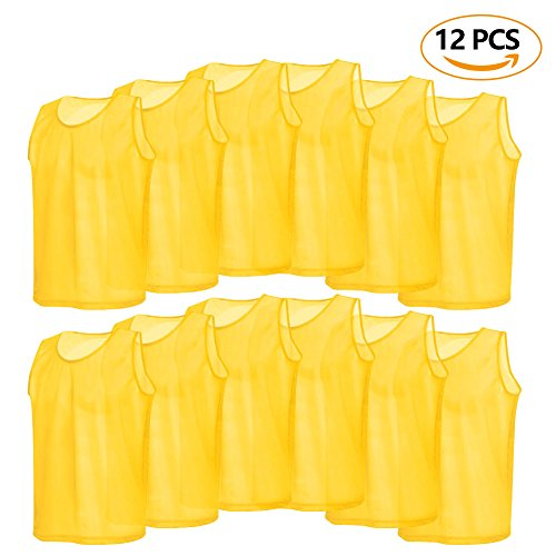 12 Pack Mesh Scrimmage Training Vests Football Vest Breathable Adults Jerseys Bibs for Volleyball Soccer Basketball ( Color : Yellow ) (Adult Football Uniform Set)
