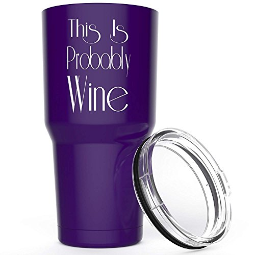 This Is Probably Wine Stainless Steel Tumbler with Lid - 30 oz Vacuum Insulated Large Funny Travel Mug Tumblers for Hot Coffee and Cold Drink - Novelty Gifts for Men Women Mom Dad,Purple