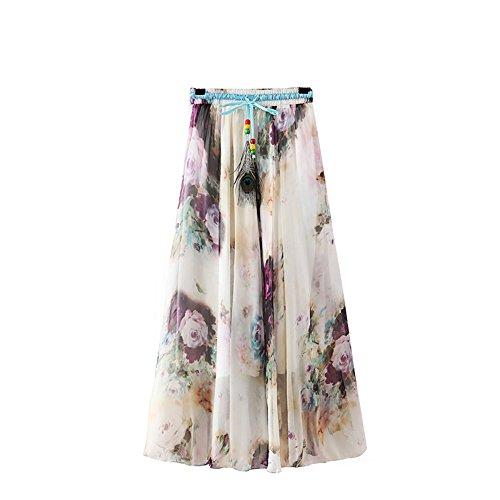 ZAMME Jupe plisse en mousseline de soie longue jupe jupe dcontracte en mousseline de soie Floral E