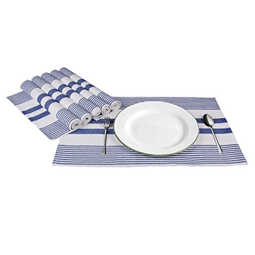 Set of 6 Cotton Blue Placemats for Dining Table Cloth Kitchen Place Mats (20 x 13 inch) Machine Washable – Aheli