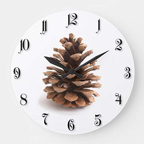 (Pinecone Wall Clock Battery Operated Art Silent Non-Ticking Small Wood Clock 12 Inches)