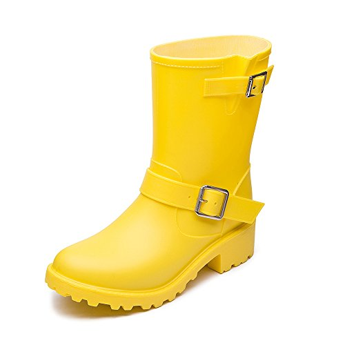 DKSUKO Womens Rain Boots with Elastic Adjust Waterproof -6 Colors-Motorcycle Boots for Girls Yellow