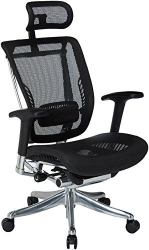 GM Seating GM-ENK-BK Enklave Mesh Executive Hi Swivel Chair with Headrest, Black Chrome Frame