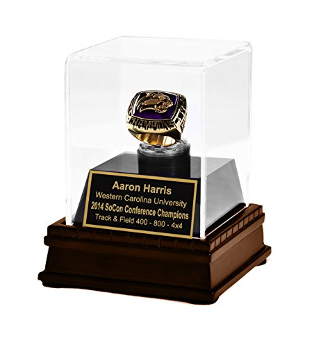 Championship Ring Display Case Acrylic Wood Ring Box w/ option for Personalized Engraving