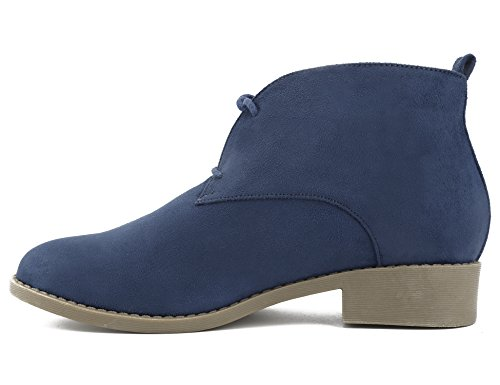 Faux Suede Booties Ankle Desert Boots Women up Blue Lace Shoes MaxMuxun Hx1OBq