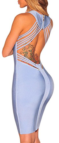 IF FEEL Sexy Women Blue Strappy Cut-Out Back Party Bandage Mini Dress ((US 4-6)S, - Skirt 2014 Trends Latest