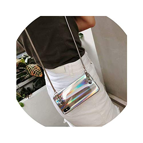 Luxury Fashion Gradient Rainbow Laser Phone Cases for iPhone X XS Max Xr 6S 6 8 7 Plus Crossbody Long Chain Back Cover for Girls,Silver,for iPhone 7P