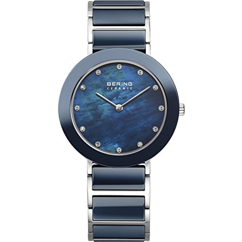 BERING Time 11435-787 Women's Ceramic Collection Watch with Ceramic Link Band and scratch resistant sapphire crystal. Designed in Denmark.