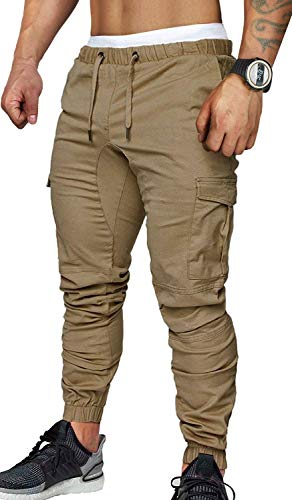- ZOEREA Jogger Cargo Men's Chino Jeans Casual Trouser Outdoor Working Pants (Khaki-New Version, S)