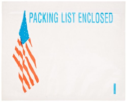 Packing Usa Flag (Aviditi PL468 Poly Pressure Sensitive Envelope, Legend PACKING LIST ENCLOSED with U.S.A. Flag Graphic, 7
