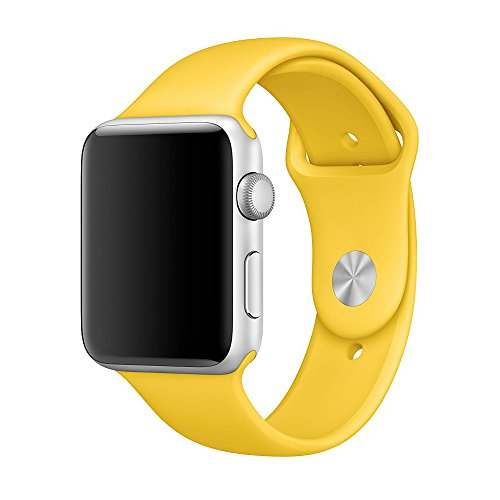 Apple Watch Band, Weaoren Soft Silicone Replacement with Stainless Steel Pin Sport Band for 42mm Apple iWatch M/L ( Yellow )