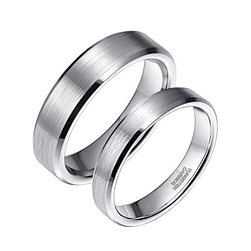 Ceramic Comfort Fit Ring - Greenpod 4MM Tungsten Carbide Ring for Men Women Comfort Fit Beveled Edge Brushed Silver Wedding Band Size 5